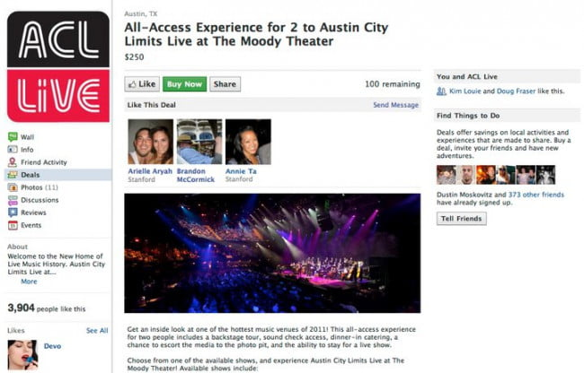 Facebook Deals (Austin City Limits)
