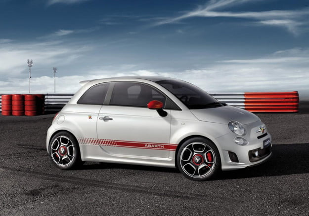 Fiat 500 Abarth white front three quarter