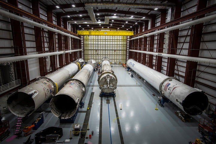 SpaceX's hangar of used rockets