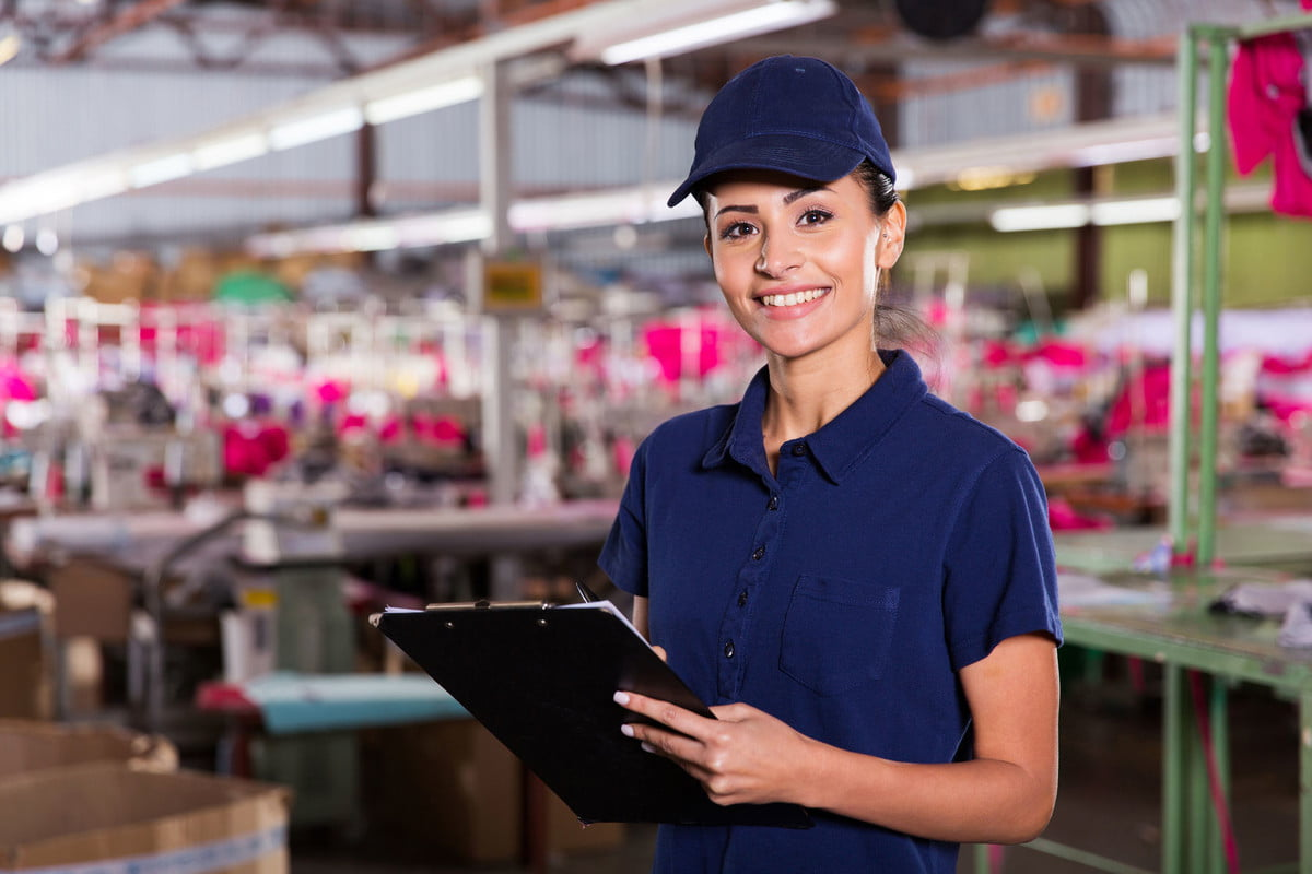 amazon patent clothing on demand factory  beautiful female worker with clipboard