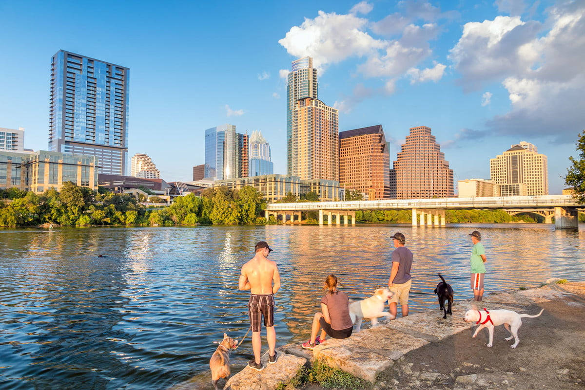 austin texas smart thermostats  people and dogs with a view of downtown skyline