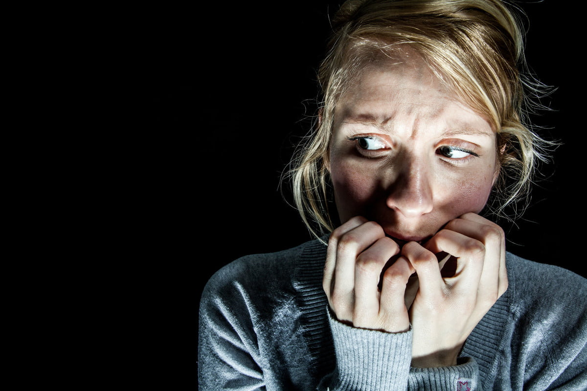 horror movies electrodes fear  scary woman afraid of something in the dark