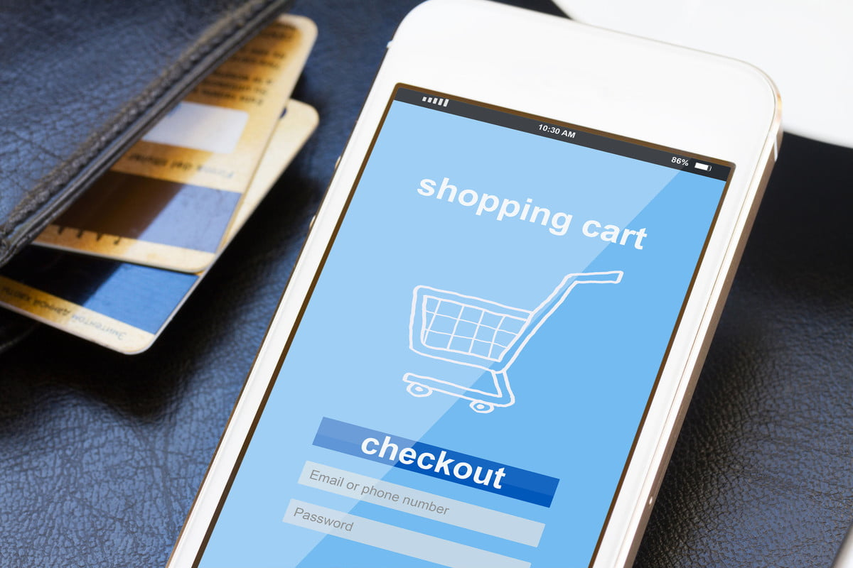 cyber monday record sales  mobile shopping concept