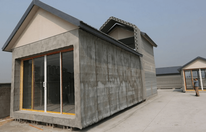 giant  d printer can build prefab homes hours printed houses
