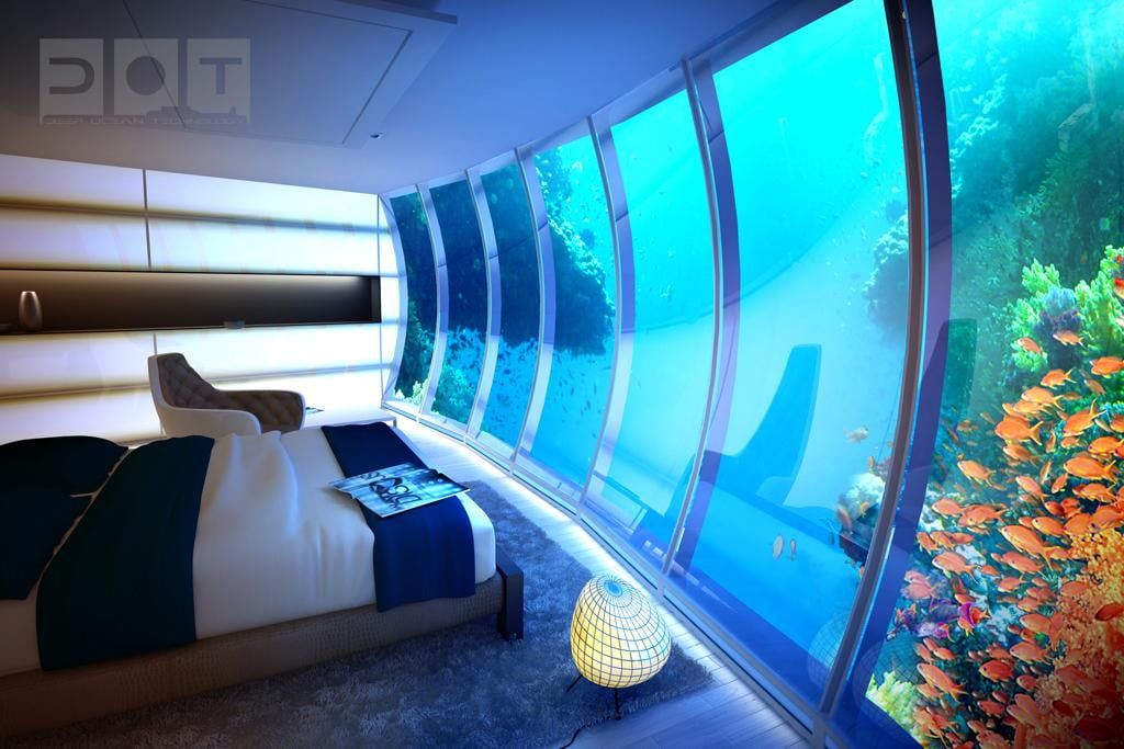 Dubai 39 s underwater discus hotel lets you sleep in a high for Hotel room in dubai