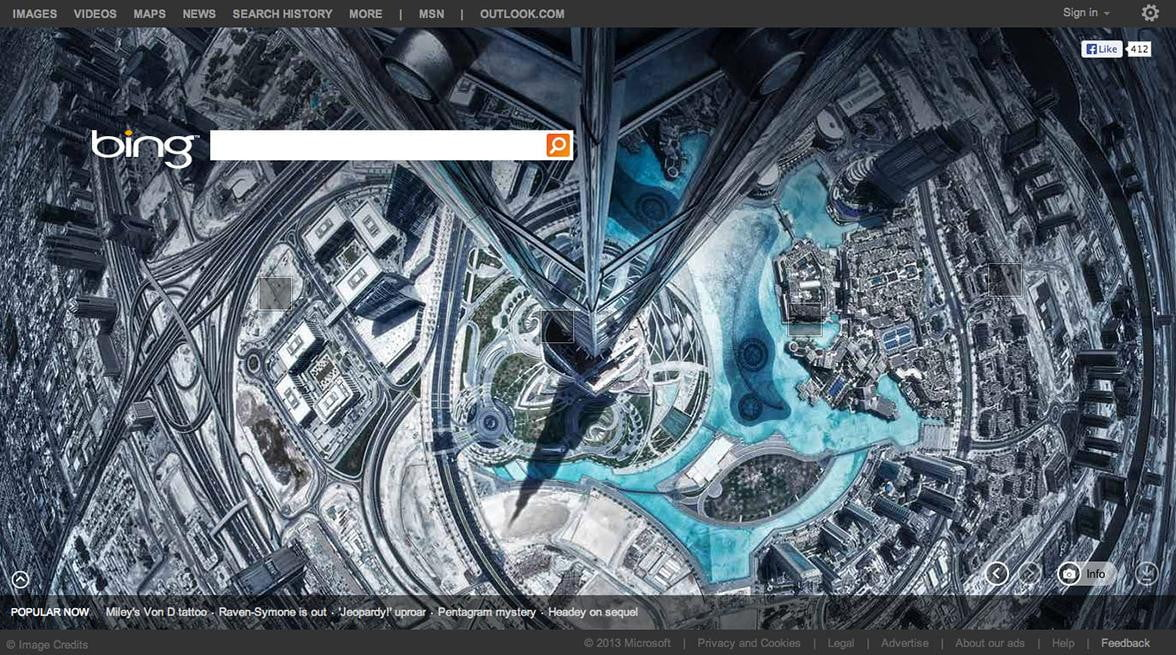 bing homepage to showcase images from  px photo site