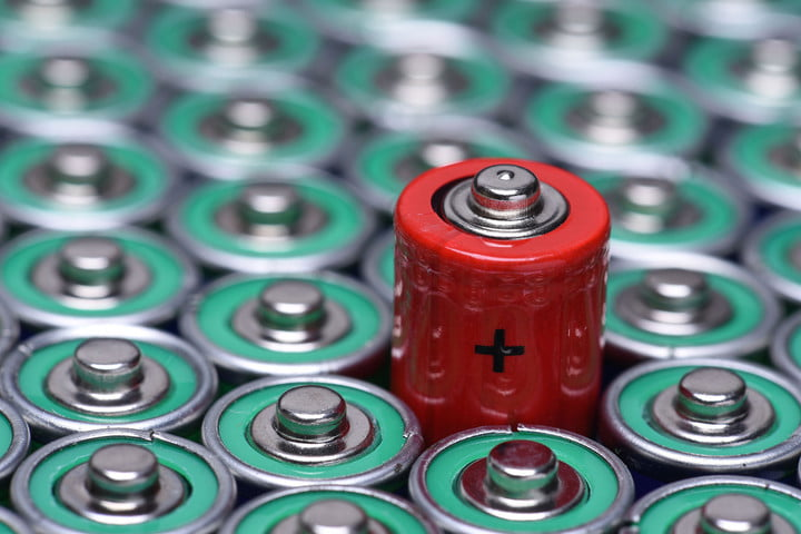 52579284 - alkaline battery aaa size with selective focus on single battery