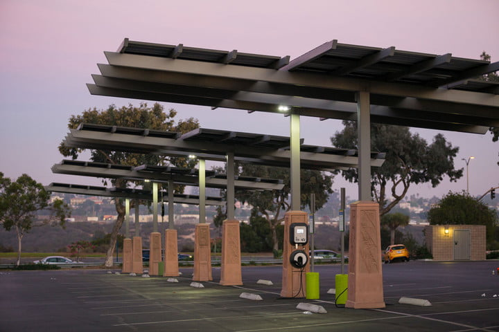 A solar-powered electric vehicle charge station in San Diego