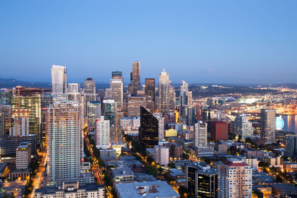 seattle sound transit  traffic congestion vote aerial skyline at dusk
