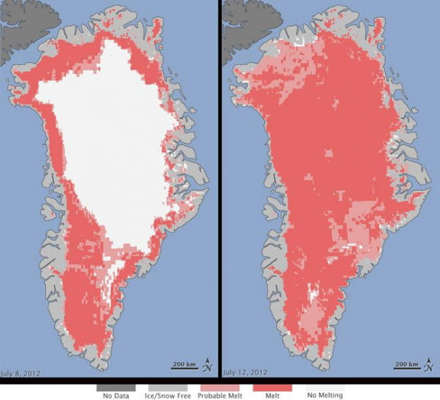 97 percent of Greenland's ice sheet melts in four days