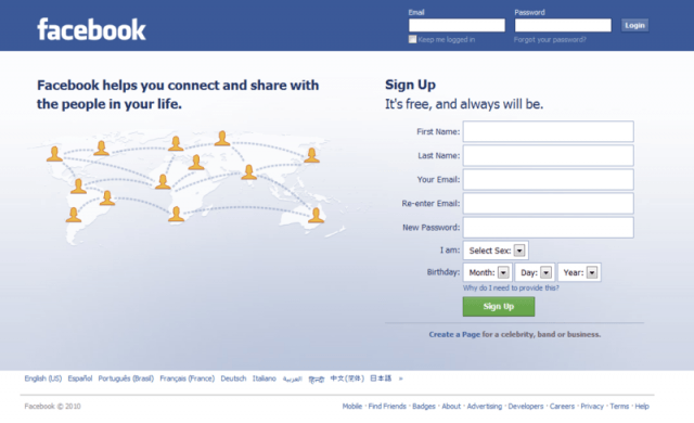 px facebook log in page