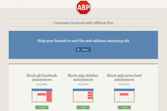 new extension blocks annoying facebook created ads but we have some concerns abp
