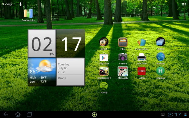 acer iconia tab review screenshot homescreen android 4.0 ice cream