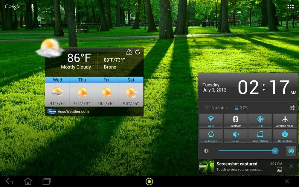 acer iconia tab review screenshot weather android 4.0 ice cream widget