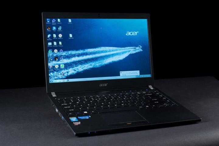 acer travelmate p  review front angled