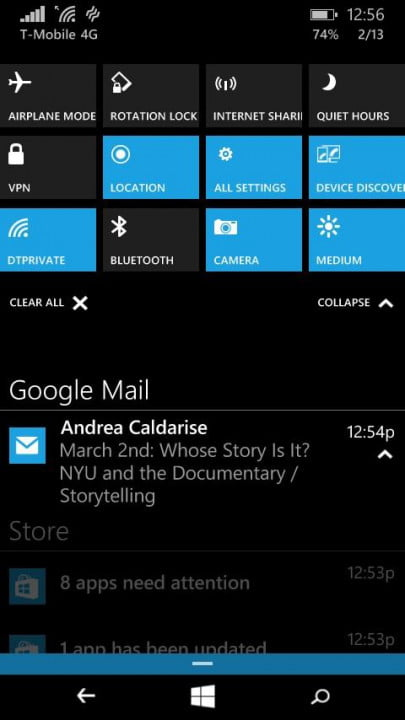 windows  technical preview phone hands on action center