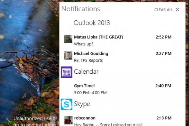 microsoft turns on actions center in new win  build