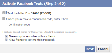 confirm number facebook