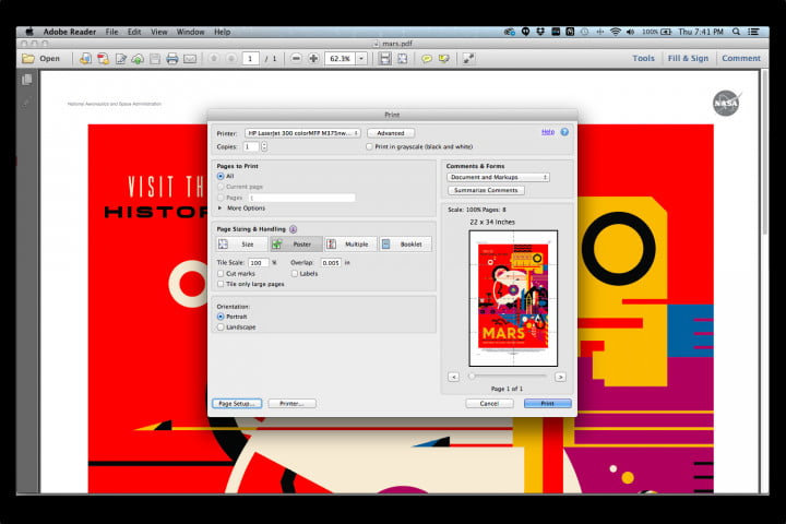 In Adobe Reader's print menu, you can choose the Poster option to print the 20 x 30-inch image on eight 8.5 x 11-inch paper.