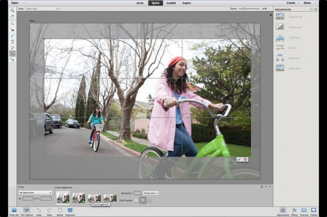 Photoshop Elements 13 has a quick cropping tool that analyzes the photo and crops it based on rules of composition.