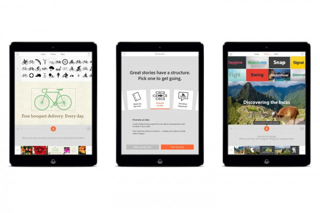 Various screenshots of Adobe Voice on iPad: (from left to right) icons for illustrating your story, story starter wheel to initiate your story, and unique themes.