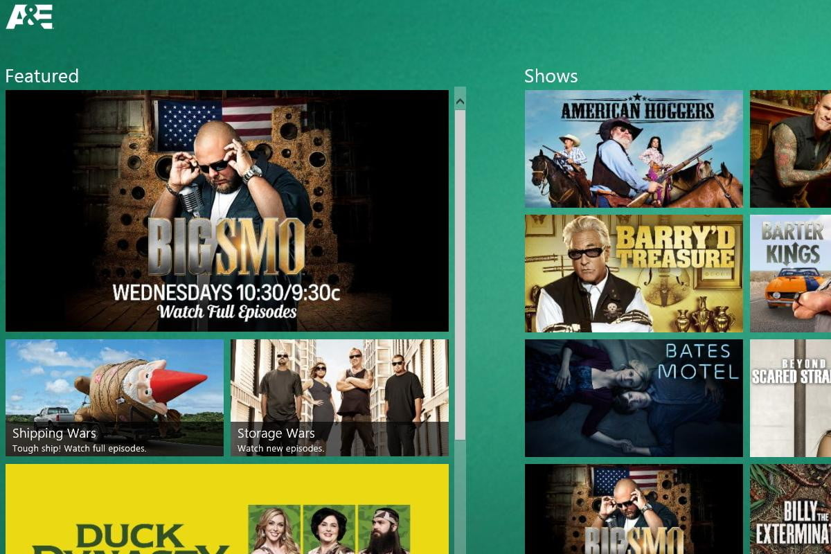 with this free app for windows  you can get your fix shows from the ae network right pc