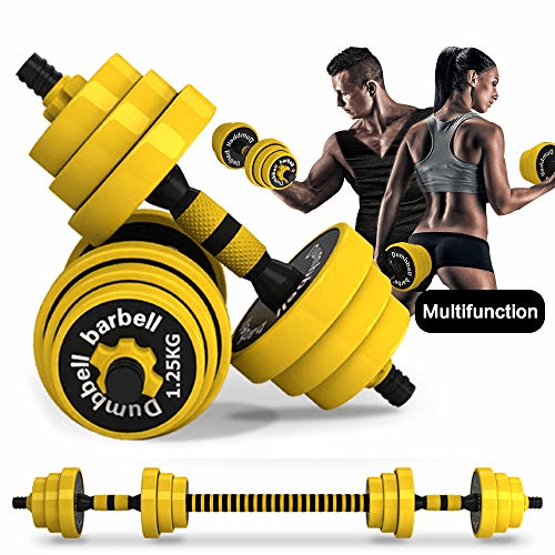 Home Fitness Equipment for Men and Women Gym Work Out Exercise Training with Connecting Rod Used as Barbells Fitness Dumbbells Set from US, Black Adjustable Weight to 33Lbs