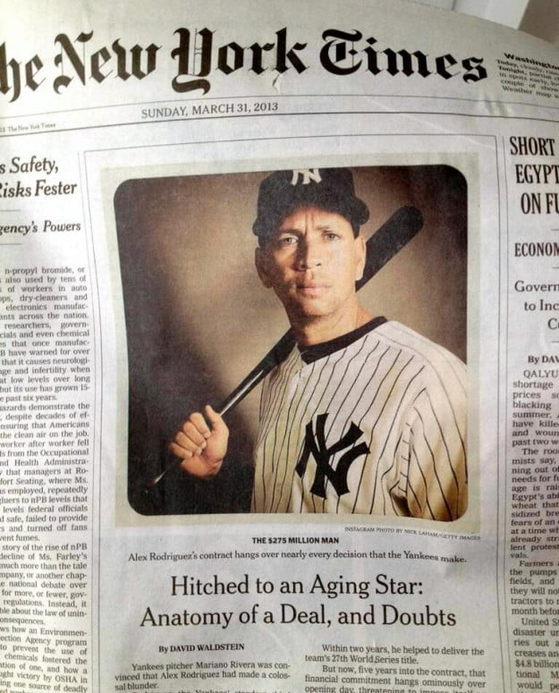alex rodriguez new york times instagram