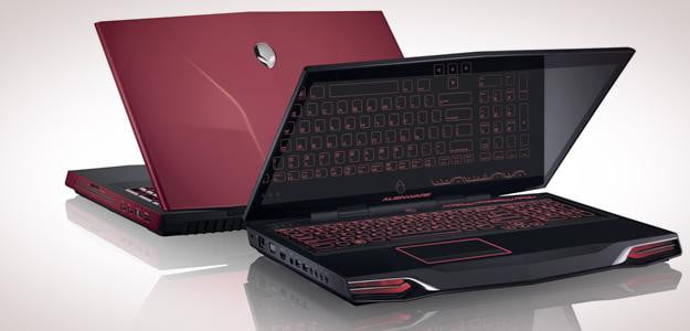 Alienware M17x R4 gaming laptop lid open backlit keyboard