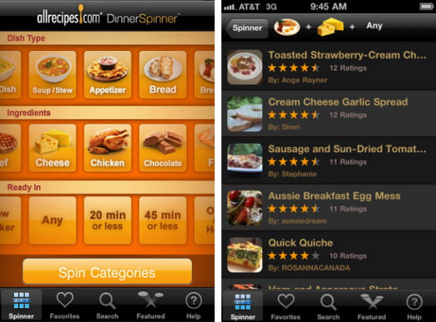 AllRecipes-Dinner-Spinner-ipod-touch-app-screenshot