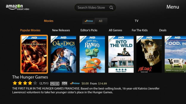 Amazon Instant Video interface