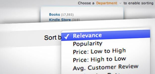 amazon search sorting options metadata