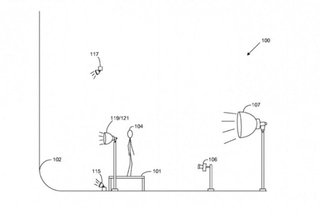 "A diagram showing Amazon's ""new"" idea for studio lighting. Credit: USPTO"