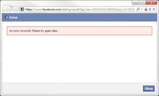 an error occurred in Facebook