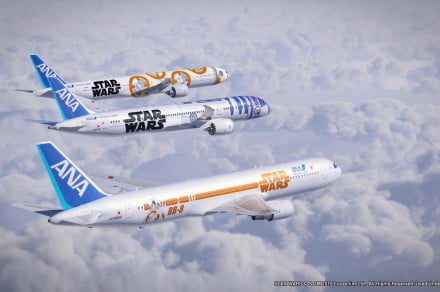 ANA's Star Wars-themed 777, 787, and 767 (top to bottom).