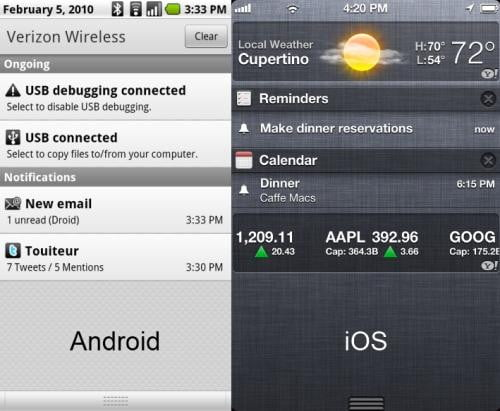 Android vs iOS notifications