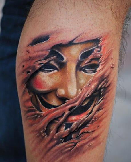 Anonymous Leg Tattoo
