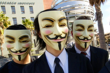 """""""Anonymous at Scientology in Los Angeles"""" by Vincent Diamante - originally posted to Flickr as Anonymous at Scientology in Los Angeles. Licensed under CC BY-SA 2.0 via Wikimedia Commons."""
