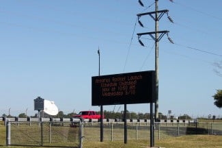 Antares Rocket Launch welcome sign