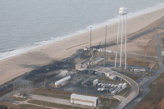Antares launch pad damage after the Orb-3's explosion