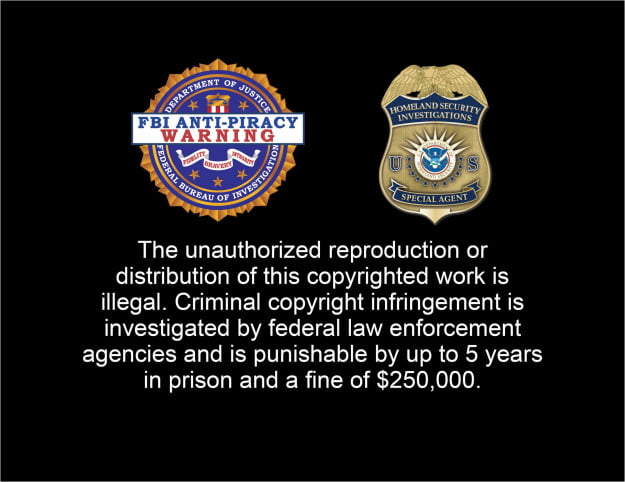Anti-piracy warning FBI HSI