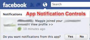 Facebook app notification controls
