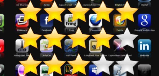 App store ratings stars against apps reviews