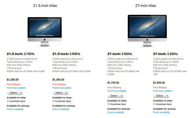 Apple iMacs with new shipping times