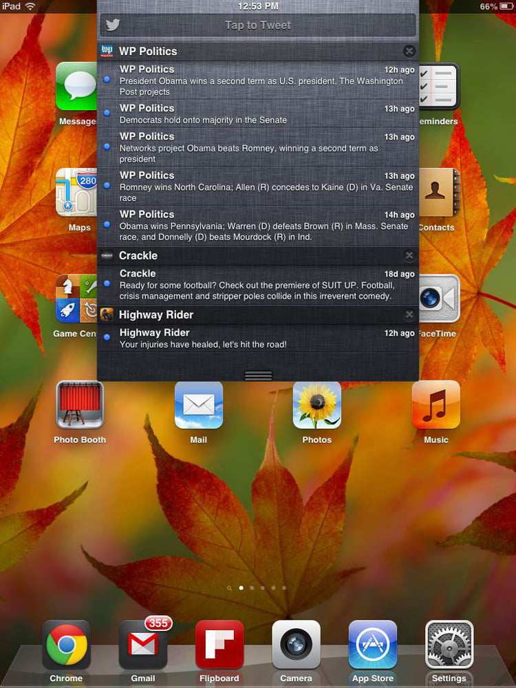 Apple iPad Mini review screenshot notifications iOS tablet
