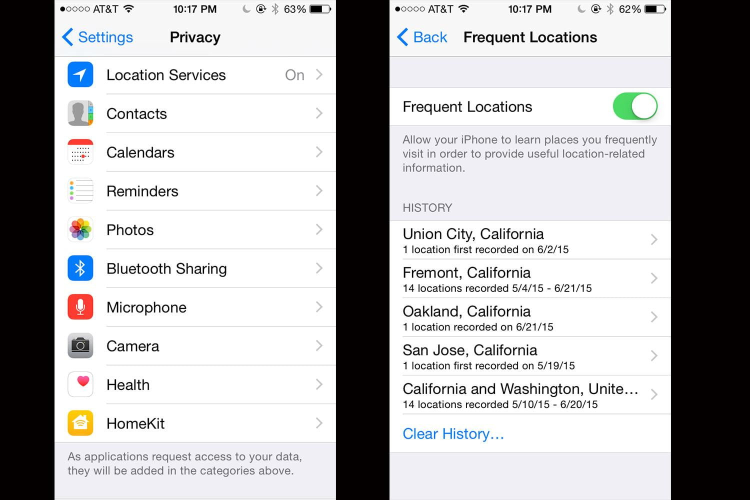 how to delete search history on iphone maps