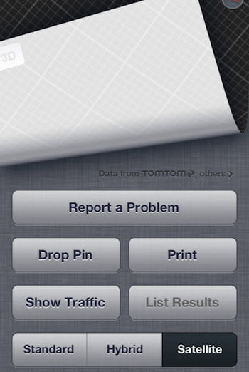 Apple Maps Problem Button