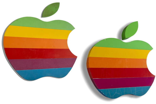 apple auctioning signs old school colorful logo  k sign auction