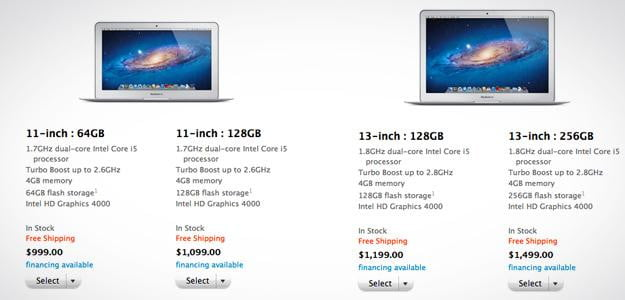 apple store macbook air choices