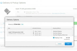Apple TV shipping options